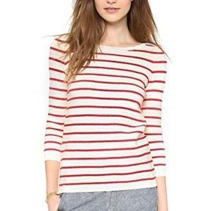 MADEWELL Seaside Red Stripe Side Zip Sweater
